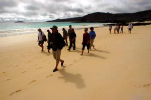 Walking on a beach excursion in the Galapagos