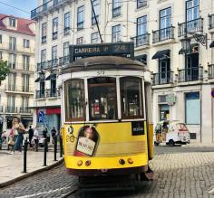 Cable car in the streets of Lisbon