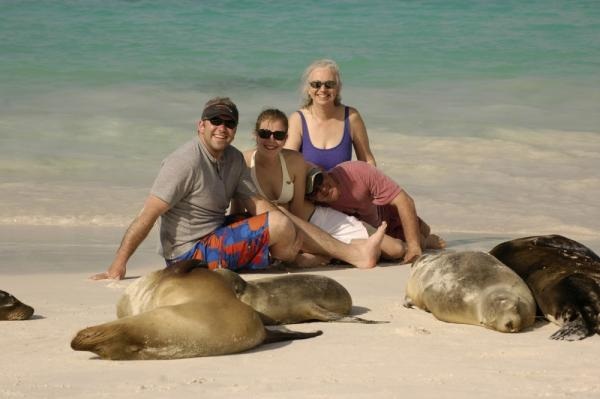 Getting close to sea lions in the Galapagos