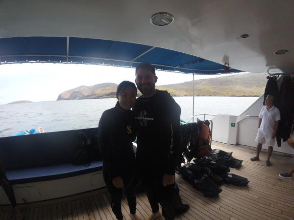 Before our first snorkel in the Galapagos! Those wet suits were badly needed