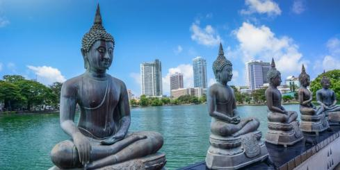 Buddha figures line the Seema Malaka temple in Colombo