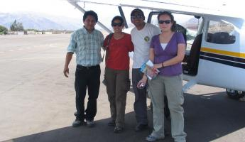With our pilot and our huge craft.
