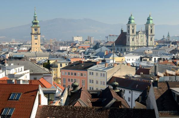 Misty morning skyline of Linz, Austria