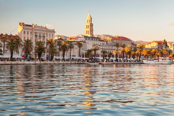 Soft evening light falls over Split