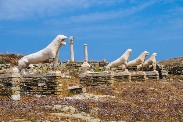 Admire the incredible Terrace of the Lions on Delos