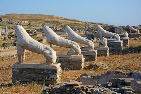Admire the Terrace of the Lions on Delos