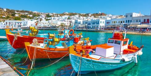 Colorful local boats in Greece