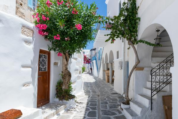 Explore the charming winding streets of the Greek islands