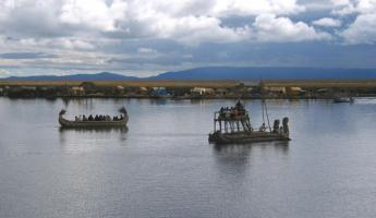 Totora balsas in the Titicaca lake