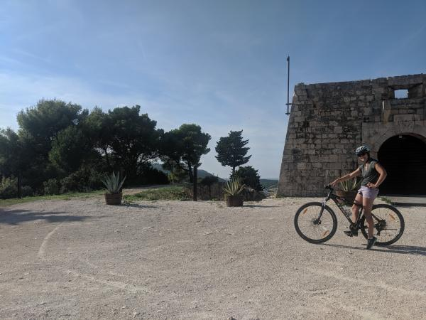 Riding bikes up to Fort George in Vis