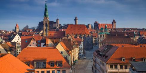Sunset over the red roofs of Nuremberg