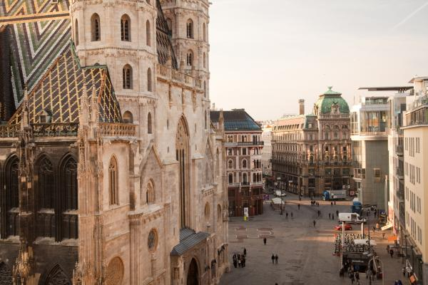 A quiet morning view of Stephansplatz and Stephansdom in Vienna