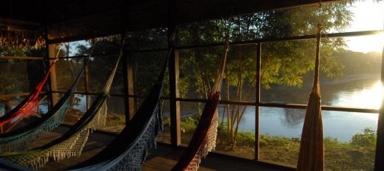Overlook the river in a comfortable hammock