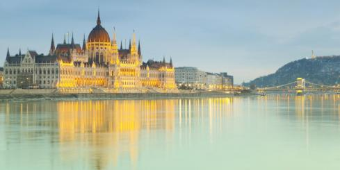 Hungarian Parliament building reflecting in the Danube