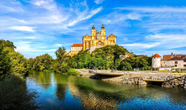 Visit the ornately decorated Melk Abbey