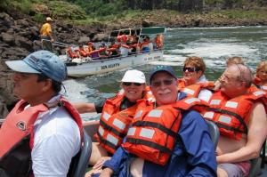 Everybody in the boat to Iguazu Falls
