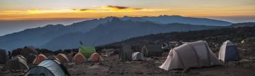 Camping along the Machame route to climb Kilimanjaro