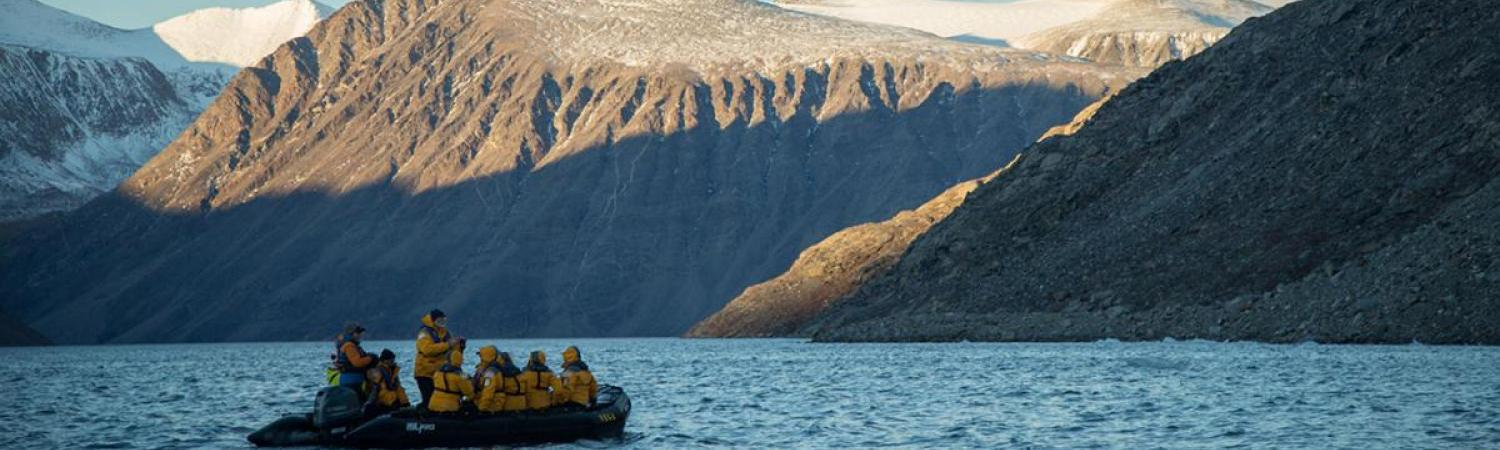 Zodiac cruising on Sunneshine Fjord, Baffin Island