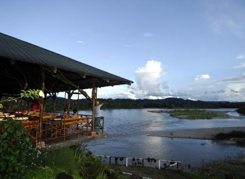 View Amazonian wildlife from the dock at Casa del Suizo