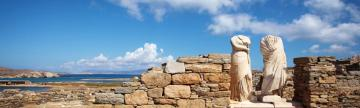 Explore ancient Greek ruins on the island of Delos
