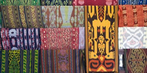 Brilliant textiles at a market