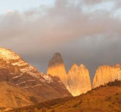 The Torres del Paine peaks finally appear from the clouds