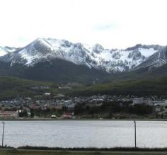 view of Ushuaia from across the bay