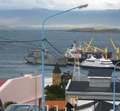 the Via Australis at dock, seen from hill in Ushuaia