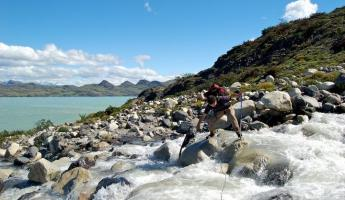 River crossing in Torres del Paine