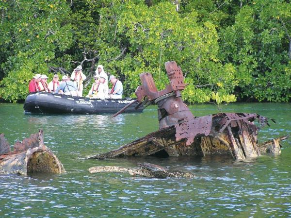 The remains of a sunken boat