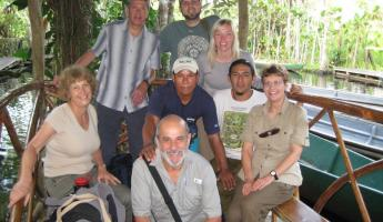 A group of travelers at Sacha Lodge in the Ecuadorian Amazon