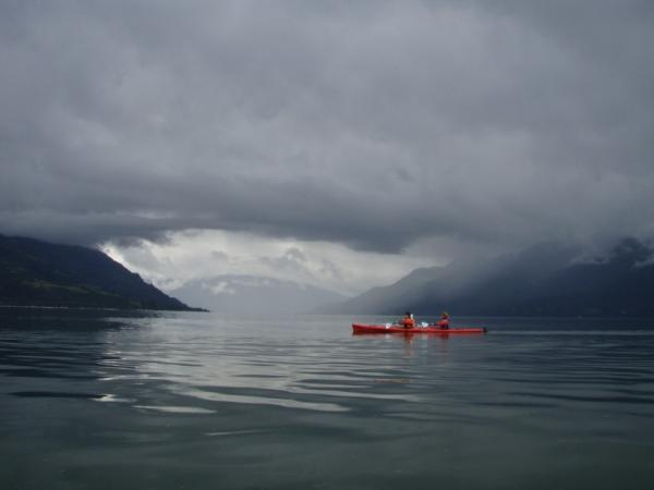 Paddlers enjoy the calm waters