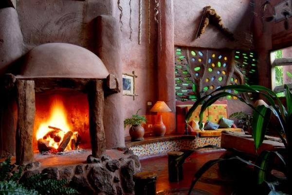 Relax by the fireplace