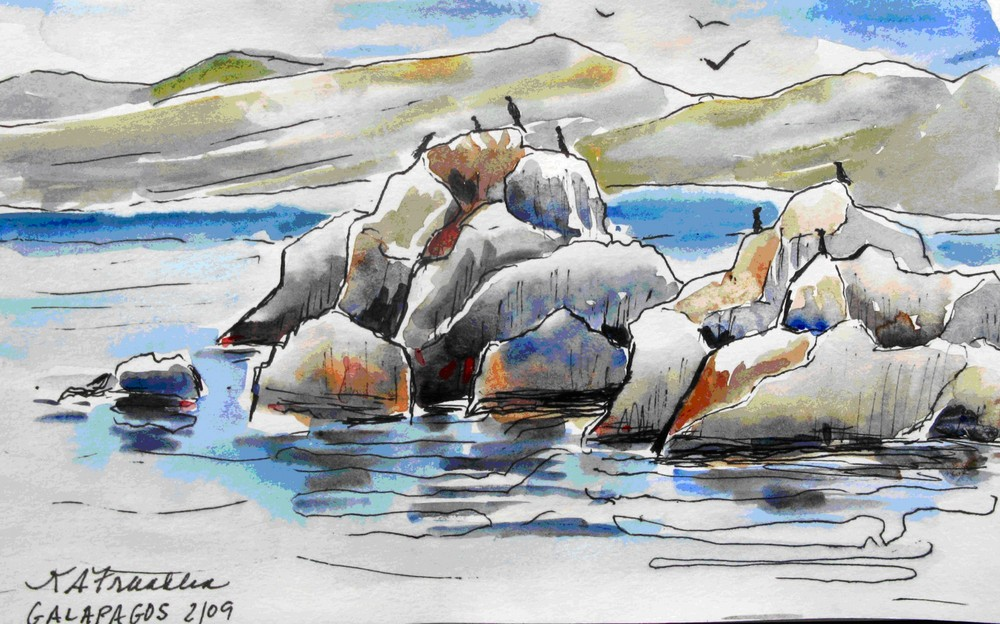 Galapagos Islands: Watercolor by Kathleen Franklin