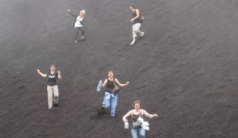Running down the hill of volcanic sand!