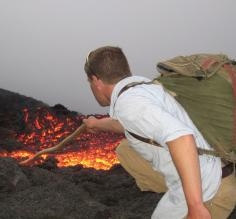 Messing with the lava on Pacaya Volcano