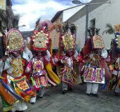 Dancers in the Corpus Christi Festival in Pujili, Ecuador