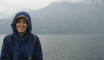 Canoeing in the rain on Lake Atitlan