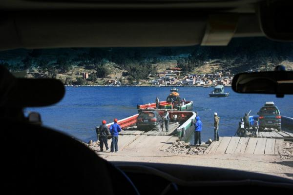 Crossing Lake Titicaca on a ferry