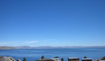 Across Lake Titicaca from Llachon