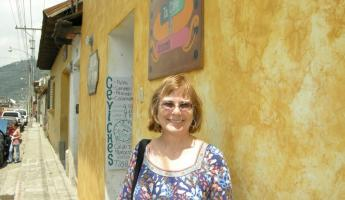 Sheree outside of Restaurant 7 & 7