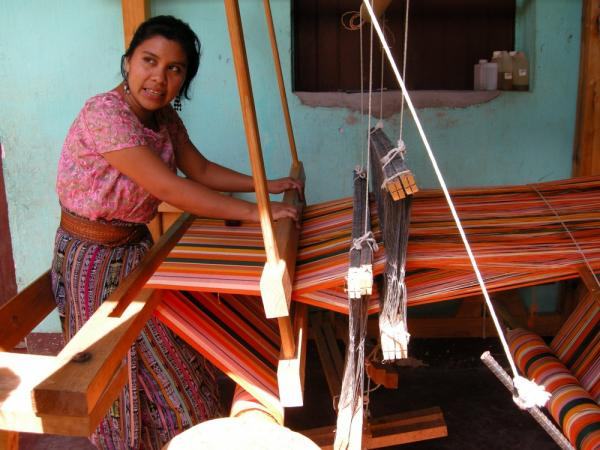 Using the big loom - natural color threads