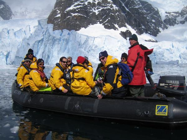 Travelers on a zodiac tour in Antarctica