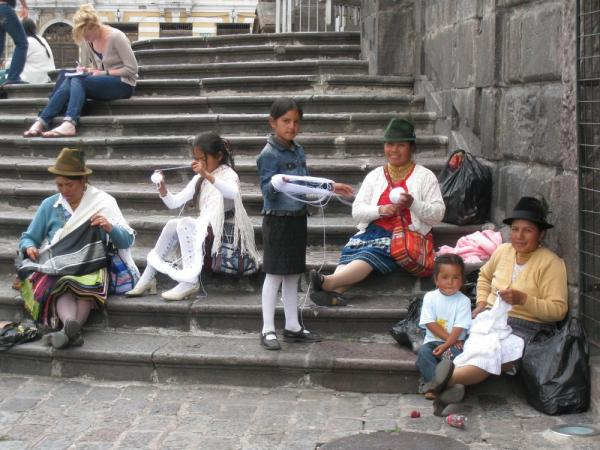 A local family weaving in Quito