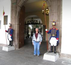 Jon at the door of the Presidential Palace