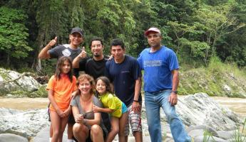 Happy family and guides after a rafting trip & lunch