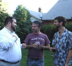 Fabio, Gabriel and Brian catch-up over good wine