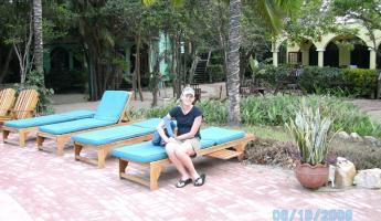 Lounging by the pool at Hamanasi in Belize