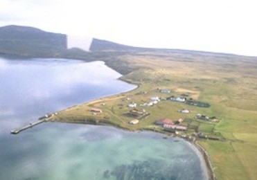 Aerial view of Pebble Lodge on Pebble Island