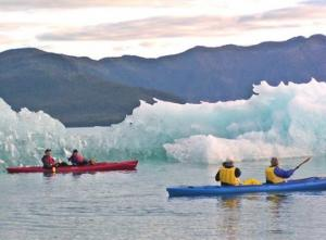 Kayaking with icebergs